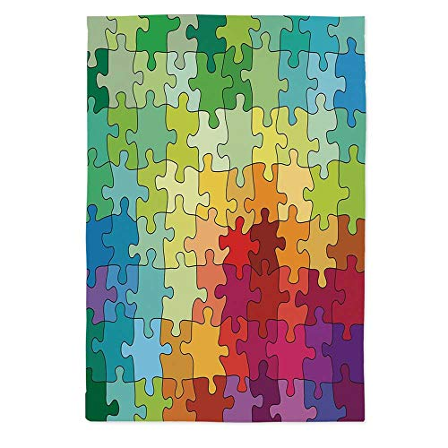- TecBillion Abstract Polyester Tablecloth,Colorful Puzzle Pieces Fractal Children Hobby Activity Leisure Toys Cartoon Image for Wedding Banquet Restaurant,72''W X 90.2''L