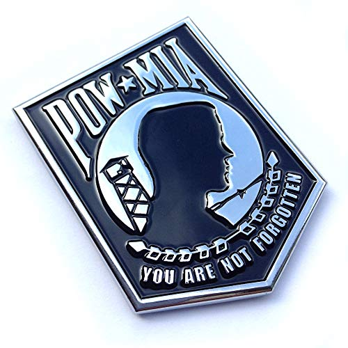 POW MIA You Are Not Forgotten Car Decal Sticker Premium Chrome Metal