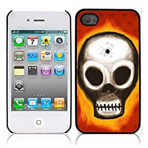 LJF phone case Skull Tattoo Partterned Hard Plastic and Aluminum Back Case for Apple iphone 4 4S