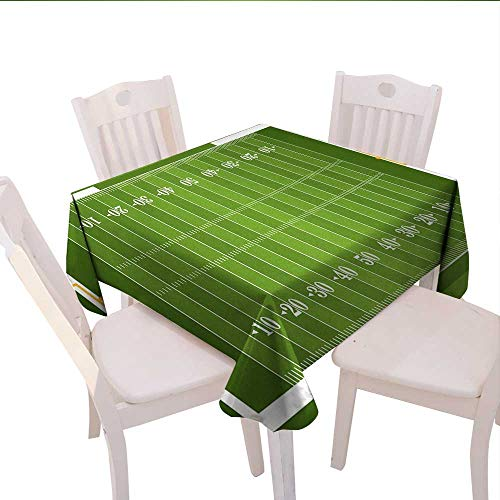 (Home-textile-print Football Dinning Tabletop DecorSports Field in Green Gridiron Yard Competitive Games College Teamwork Superbowl Table Cover for Kitchen 36x36 (inch) Green White)