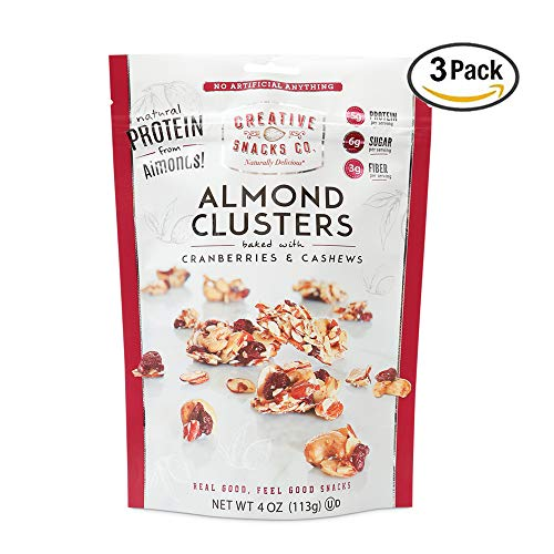 Creative Snacks Naturally Delicious Almond Clusters with Cranberries and Cashews, 3 Pack, 4 Ounce Resealable ()