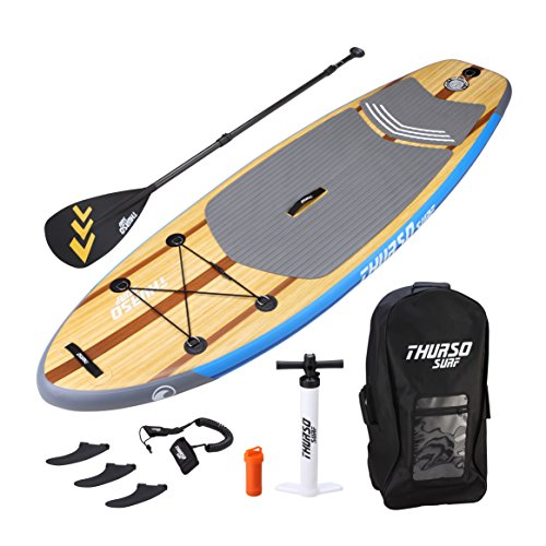 THURSO SURF Prodigy Junior Kids Inflatable SUP Stand Up Paddle Board 7'6 x 30'' x 4'' TWO LAYER Includes Adjustable CARBON Shaft Paddle/2+1 Fins/Leash/Pump/Backpack by THURSO SURF