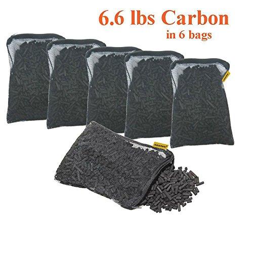Aquapapa 6 lbs Activated Carbon Charcoal Pellets in 6 Mesh Bags for Aquarium Fish Tank Koi Reef Filters by Aquapapa