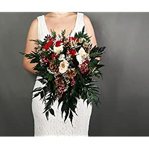 Winter Wedding Bridal Bouquet Real Preserved Flowers Pine Cones Berries 25