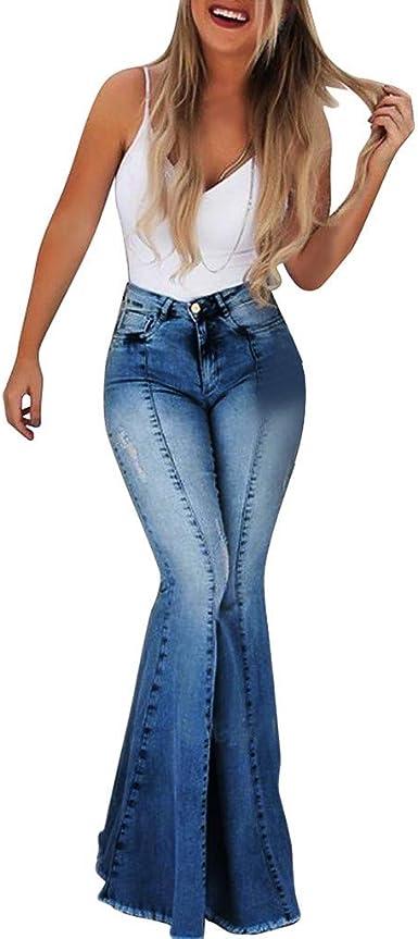 Risthy Mujer Pantalones Acampanados Vaqueros Cintura Alta Jeans De Mujer Pantalones Ajustados Slim Fit Vaqueros Rotos Largos Casual Retro Con Bolsillos Para Mujeres Amazon Es Ropa Y Accesorios