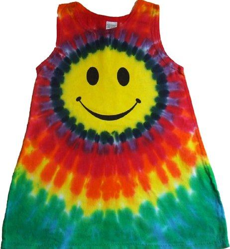 Tie Dyed Shop -Tie Dye Girls Dress - Smiley Face Tank-10-Multicolor