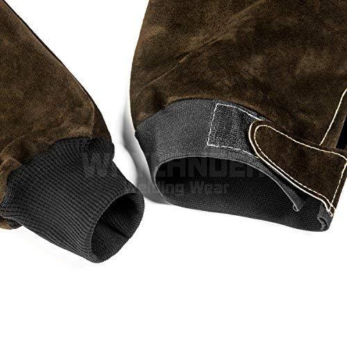 Waylander Welding Sleeves Leather Kevlar Stitched with Adjustable Upper End Heat Flame Resistant Heavy Duty Dark Brown (Regular)