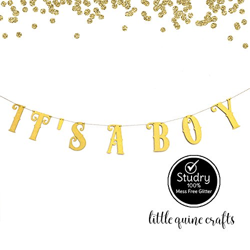 (IT'S A BOY Gold Glitter Banner for Baby Shower Party Decoration)
