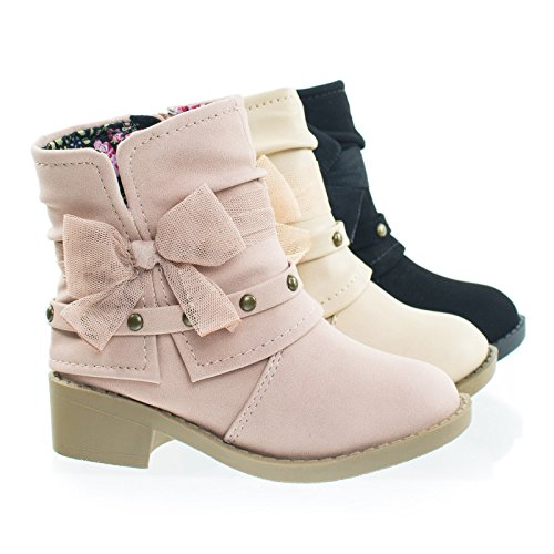 NikkiIIsq Dusty Muave Infant Toddler Girl Ankle Bootie w Side Slit, Belt & Mesh Bow -6 (Belted Bootie)