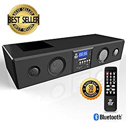 Pyle 3D Surround Bluetooth Soundbar - Sound System Compatible to TV, USB, SD, FM Radio with 3.5mm AUX Input and Wireless Remote - PSBV200BT