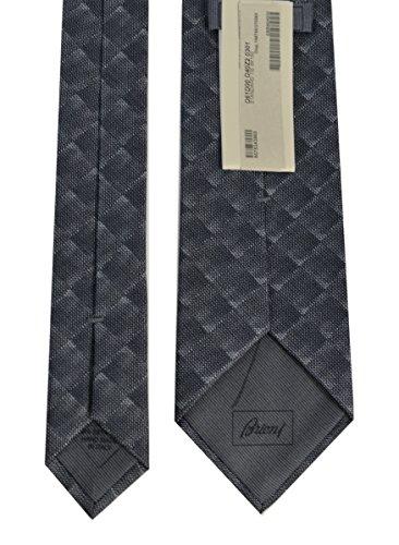 Brioni Mens Geometric Pattern Jacquard Silk Necktie,Charcoal by Brioni (Image #1)