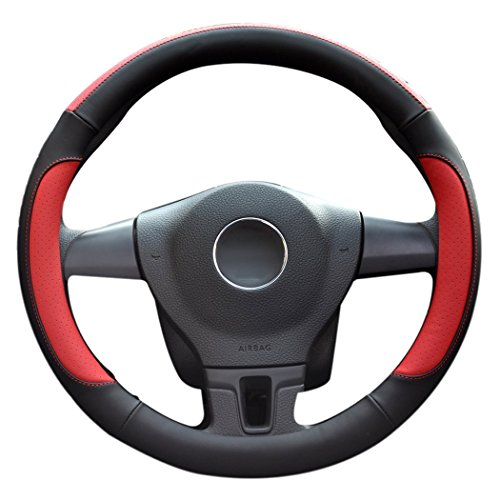 LucaSng Car Steering Wheel Cover,Diameter 14 inch,PU Leather,for Full Seasons,Black and red,Size S