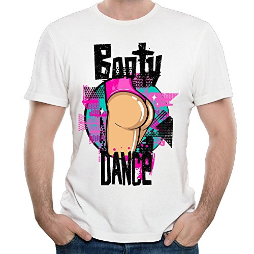 HMK1987 Mens T-Shirt Booty Dance Short Sleeve Cotton Tee White 5XL