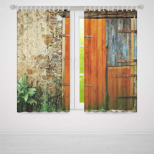 TecBillion Decor Collection,Shutters,for Bedroom Living Dining Room Kids Youth Room,Old Fashion Country House French Entrance Stone Wall Farmhouse Picture Print2 Panel Set,37W X 51L Inches