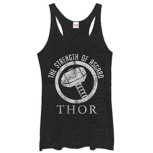 Marvel Women's Thor Strength of Asgard Black Heather Racerback Tank Top]()