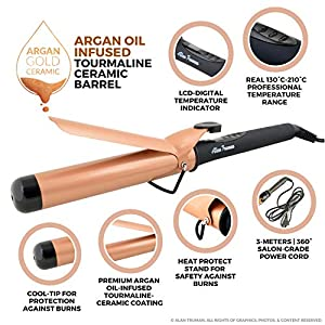Alan Truman AT Curler 38mm Argan Oil Infused Gold Ceramic Curler – 38mm (Black/Gold)