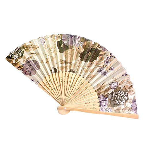 Hot Sale!UMFun Vintage Bamboo Folding Hand Held Flower Fan Chinese Dance Party Pocket Gifts (F) -