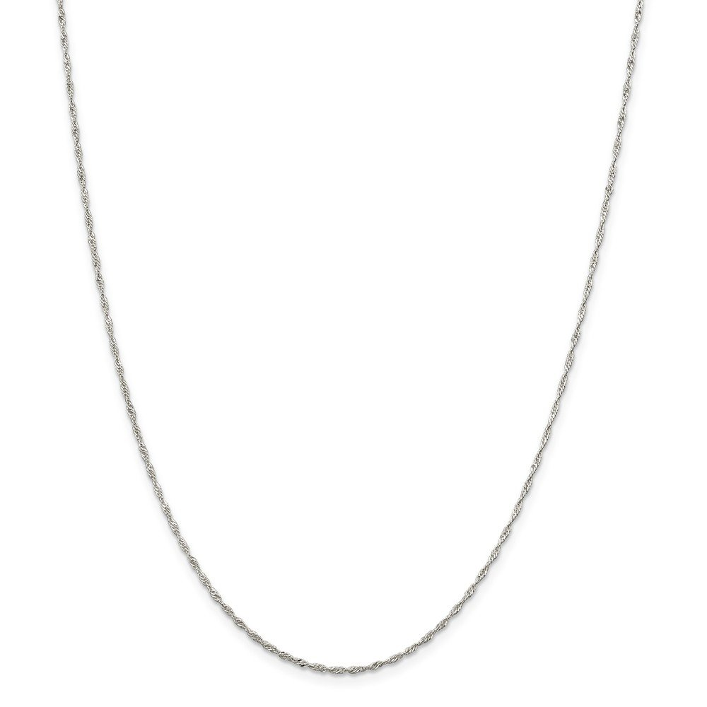 Solid 925 Sterling Silver 1.40mm Singapore Chain Necklace with Secure Lobster Lock Clasp