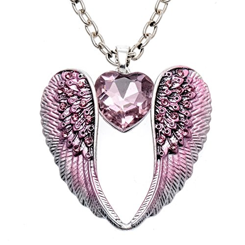 Stone Angel Costume (Stephenie Crystal Angel Wings Pendant Necklace Women's Biker Jewelry)