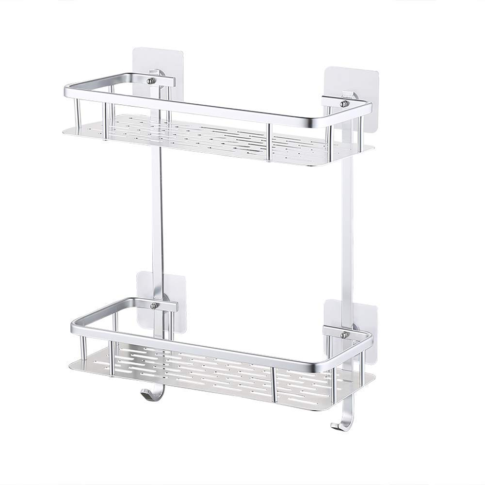 A4028ADF KES Adhesive Suction Bathroom Shelf No Drill Aluminum Rectangle Wall Mount Shower Caddy Organizer Screw Free Anodized