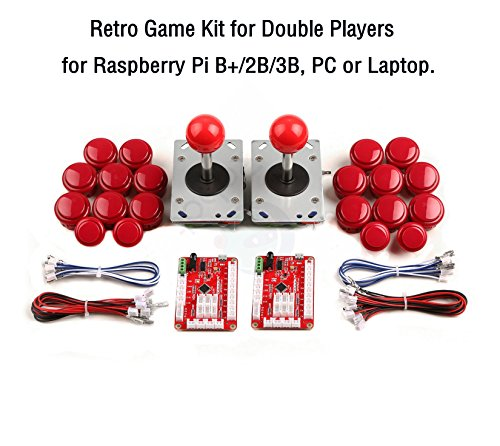 Retro Game Kit for Double Players, for Raspberry Pi B+/2B/3B, PC or Laptop. by CQRobot