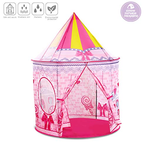 control future Princess Play Tent - Kids Tent Castle Play House for Girls, Pink Foldable Teepee Tents for Toddler Girl Toys Tent for Camping Game Indoor & Outdoor(53''x40''x40'')