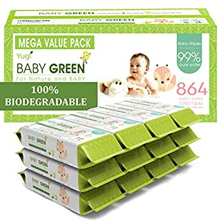 Baby Green Biodegradable Baby Wipes Unscented – Value Pack (12 Packs of 72) 864 –compostable 99% Pure Water Plastic FREE Moist Newborn Diaper Wipes Fragrance Free, Wet Wipes for Babies & Adults Sensitive Skin