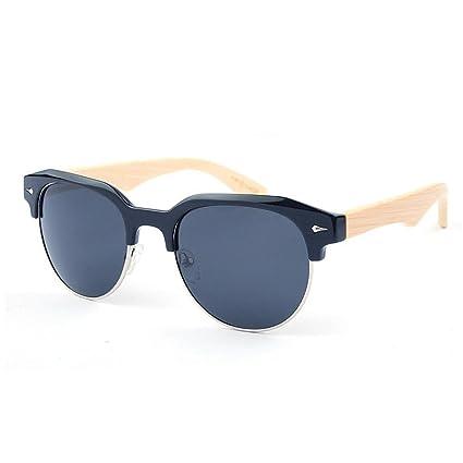 KOMEISHO Gafas de sol de bambú polarizadas semirreflejo semi-sin montura para hombre mujer espejo