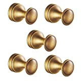 Leyden TM 5 Pcs Antique Brass Coat Hooks Wall Mounted Hangers Hardware Hanging Clothes Hat for Bathroom Accessories