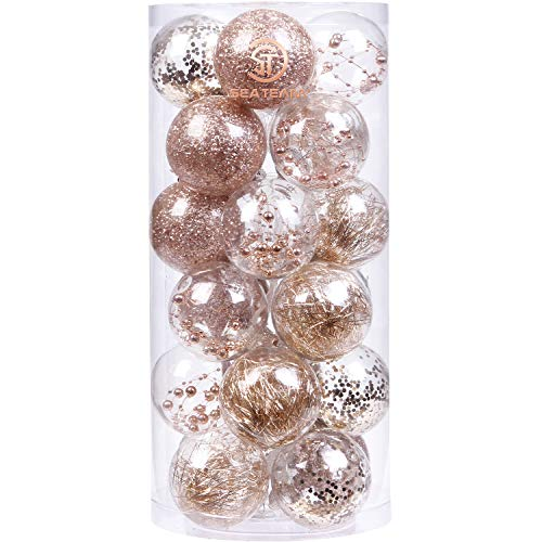 Sea Team 70mm/2.76 Shatterproof Clear Plastic Christmas Ball Ornaments Decorative Xmas Balls Baubles Set with Stuffed Delicate Decorations (24 Counts, Champagne)