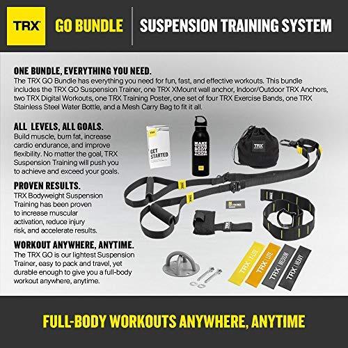 TRX GO Bundle Includes GO Suspension Trainer, Training Xmount, Training Set of 4 Mini Bands TRX Training Stainless Steel Water Bottle
