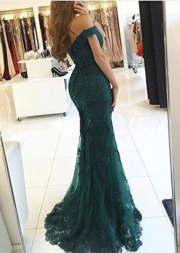 Spalla Sirena Vestito Dal Fuori Jazylynbride Del Rosa Da Sera Donne Della Merletto Lungo x87wqO6