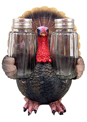 Resin Thanksgiving Turkey Figurine with Glass Salt and Pepper Shaker Set, 6 1/4 Inch