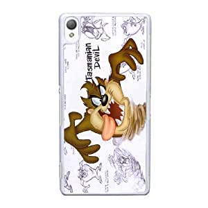 Custom Cell Phone Case Sony Xperia Z3 White Case Cover Cartoon Looney Tunes Taz 12QQ4696208