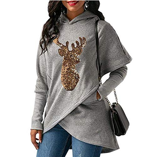 Sweater Gold Alian Christmas Gray Asymmetrical Elk Cape Print Hooded Long Top Sleeve wvFpvq