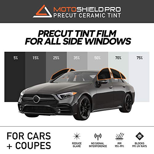 MotoShield Pro Precut Ceramic Tint Film [Blocks Up to 99% of UV/IRR Rays] Window Tint for Cars, Coupes - All Side Windows, Any Tint Shade