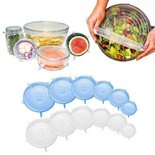 Silicone Lids Reusable Silicone Stretch Lids-12Pcs Silicone Storage Covers Microwave and Dishwasher Safe Silicone Suction Lids BPA Free-Reusable Bowl Cover Reusable Durable Expandable Lids for Cans