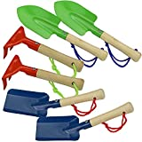 COM-FOUR 6-piece Garden Tool Set made of metal and wood in