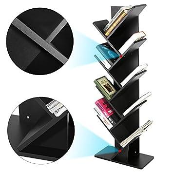 Tree Bookshelf,9-Shelf Bookcase Display Rack Shelf Organization Display Storage Furniture for CDs, Movies Books, Black