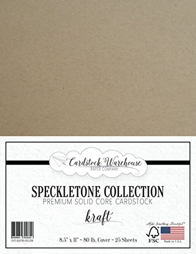 Kraft SPECKLETONE Recycled Cardstock Paper - 8.5 x 11 inch - Premium 80 LB. Cover - 25 Sheets -