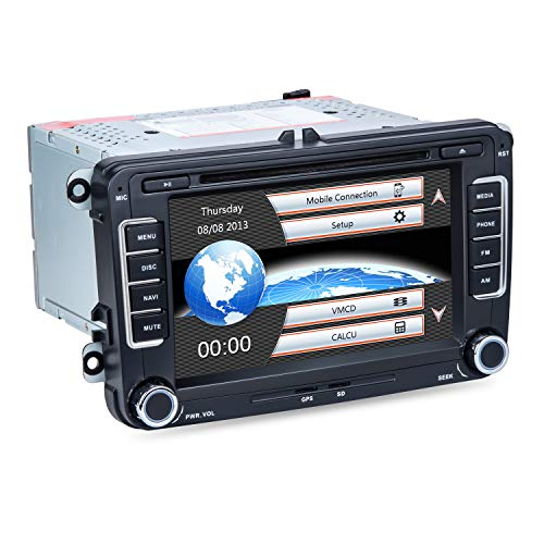 Car Stereo DVD Player Applicable with Volkswagen/Skoda, 2 Din in-Dash, Built-in Bluetooth, MP3 Player, GPS Navigation, Mirror-Link, AUX Input, Radio Receiver
