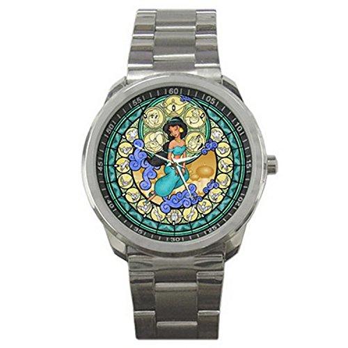 1STG084 Disney Stain Glass Jasmine in Aladdin men women sport (Aladdin Watches)