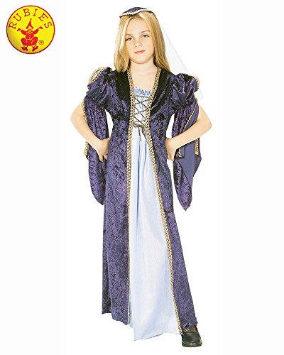 Girls Long Medieval Maid Marian Juliet Tudor Historical Fancy Dress Costume Outfit ((8-10 -