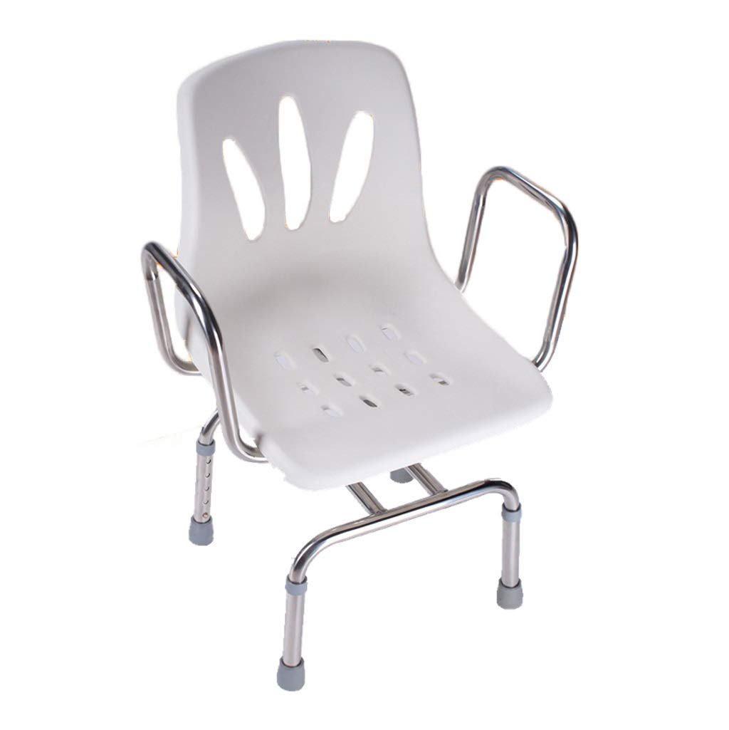 Shower Chair, Stainless Steel Rotate Bath Chair, 5 Adjustable Heights,for The Elderly, Disabled, Pregnant Women,with Backrest and Armrest