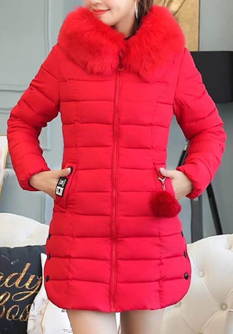 XQS Womens Winter Down Coat with Faux Fur Hood Down Parka Puffer Down Jacket