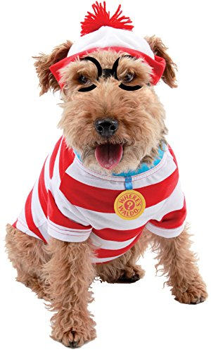 Where's Waldo Woof Costume (Pet Costume: Where'S Waldo Woof Kit-Small - Pet Costume: Where'S Waldo Woof Kit-Smallfamiliar Waldo Striped Shirt, Hat And Glasses For Your Pet. Small Fits Dogs With Weight 11-23 Lbs, Neck 8 In, And)