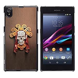 Ihec Tech Jefe de Sun del oro del cráneo de la Muerte Roja Marrón / Funda Case back Cover guard / for Sony Xperia Z1 L39