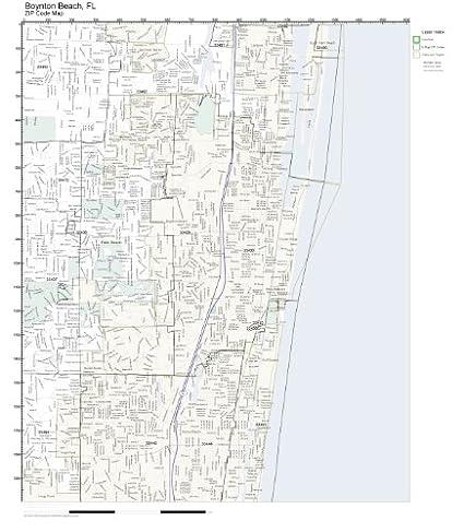 Amazoncom Zip Code Wall Map Of Boynton Beach Fl Zip Code Map Not