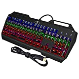 Pictek Mechanical Keyboard, Gaming Keyboard, [High Quality]with104-Key Waterproof Anti-ghosting Technology Multi-color Led Backlight with Cap Pulle