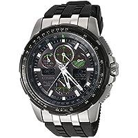 Citizen Men's 'Eco-Drive' Quartz Stainless Steel and Polyurethane Aviator Watch, Color:Black (Model: JY8051-08E)